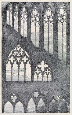 oldbookillustrations:Traceries from Caen, Bayeux, Rouen and Beauvais. From The complete works of John Ruskin, vol. 1, New York, 1900. Via archive.org