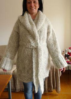 Luxury Hand Knitted Longhair Mohair Coat Cardigan Natural Fuzzy LanaKnittings