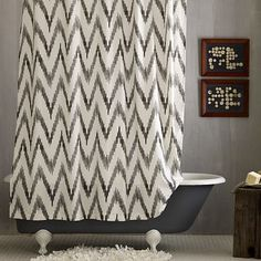 I love the Chevron Shower Curtain, Stone White/Slate on westelm.com