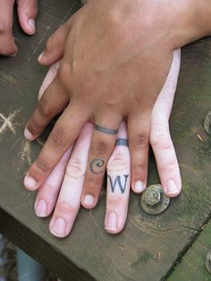 I like the idea of getting your significant other's initial tattooed on you, on the ring finger. And I will stick with our real wedding rings below, not the tattooed ones. ;)