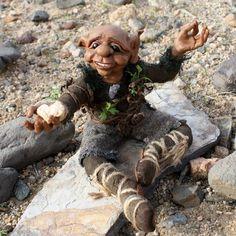 Elf Art Doll, Kalju, the desert dwelling elf who makes heart shaped rocks.