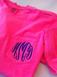 Monogrammed Monogram Comfort Colors Pocket Tshirt