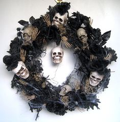 Halloween Wreath w/ Skulls, Roses, Spiders & More, via Etsy.