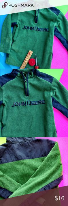 John Deere Boys Fleece Pullover John Deere Boys Med Pullover.  Green/With Blue Accents.  Long Sleeves.  Kids Love It.  Perfect for the Farm Look.  100% Polyester.  1/4 Zip Front.  Preloved and in Great Shape. John Deere Shirts & Tops Sweatshirts & Hoodies