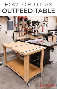 Today I'm going to show you how to build a Table Saw Outfeed Table. My goal was to build a simple and inexpensive outfeed table that could also function as an assembly table. The table has a Ridgid Table Saw, Table Saw Workbench, Woodworking Table Saw, Router Table, Woodworking Shop, Workbench Plans, Woodworking Workshop, Diy Router, Woodworking Techniques