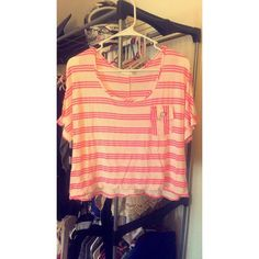 White and pink tee shirt White and pink striped teeshirt. Bought and never worn. Lette usa Tops Tees - Short Sleeve
