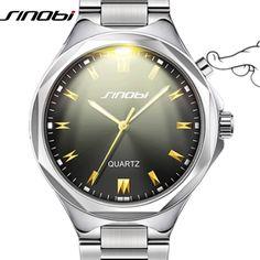 Sinobi عارضة الرجال ساعات المعصم من الضوء الخلفي المقاوم للصدأ watchband أعلى ماركة فاخرة الرجال جنيف كوارتز ساعة zegarki meskie