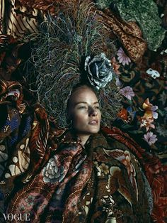 'A Time Remembered' Pusaka Maha Karya (Indonesian Batik Masterpieces) by Iwan Tirta & Headpiece, an art piece courtesy of Bruce Claypool on Vogue