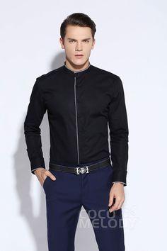 New Design Dress Shirts Mens Formalwear Mandarin Collar LT0015014 #men'swear #men'sfashion #hisfashion #shirts #cocomelody