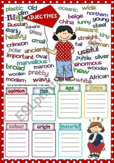 Parts of speech - types of adjectives Language: English Level/group: pre-inermediate School subject: English as a Second Language (ESL) Main content: Adjectives Other contents: Parts Of Speech Worksheets, English Grammar Worksheets, English Vocabulary, English Activities, Fun Activities, English Games, English Lessons, Learn English, English Class