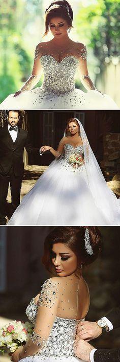 Luxurious Tulle Jewel Neckline Ball Gown Wedding Dress With Rhinestones Hochzeitskleid 2019 - Colored Wedding Dress, Sexy Wedding Dresses, Wedding Dress Sleeves, Princess Wedding Dresses, Boho Wedding Dress, Designer Wedding Dresses, Wedding Gowns, Tulle Wedding, Ball Dresses
