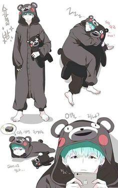 Suga and Kumamon Bts Chibi, Fanart Kpop, Bts Gifs, Bts Meme, Yoonmin Fanart, Catty Noir, Min Yoonji, V Bts Wallpaper, Bts Drawings