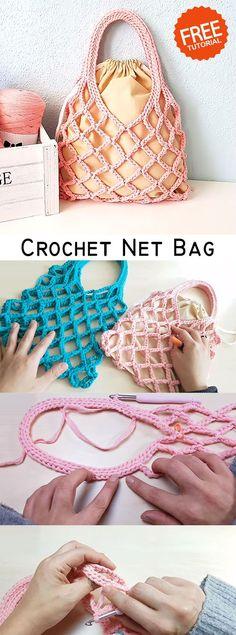 Simple Net Bag Crochet this simple net bag for summer.Crochet this simple net bag for summer. Crochet Drawstring Bag, Bag Crochet, Crochet Gratis, Crochet Handbags, Crochet Purses, Love Crochet, Crochet Hooks, Crochet Clutch, Crochet Flower