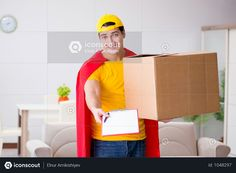Superhero Delivery Guy With Box Photo