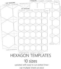 "5"" Hexagon Template Printable | Craftsy"