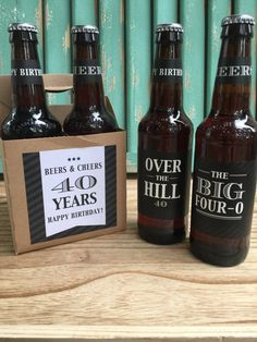 Give the gift of his favorite brew personalized with these 40th birthday themed beer bottle labels. AVAILABLE OPTIONS: SET OF 4 INCLUDES: 3.5 x 2.99 square labels (1) The Big Four-0 (1) 40 is the new 20 * Twice (1) Over the Hill (1) Lordy, Lordy, look whos 40 3.244 x 1.05 necker labels (2) Cheers (2) Happy Birthday SET OF 6 INCLUDES: 3.5 x 2.99 square labels (2) The Big Four-0 (1) 40 is the new 20 *Twice (2) Over the Hill (1) Lordy, Lordy look whos 40 3.244 x 1.05 necker labels...