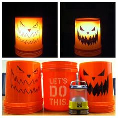 """The Home Depot """"Pumket"""" for Halloween. a Home Depot bucket, a marker and a light. An ingenious idea from our friends at Ryobi. Fall Crafts, Holiday Crafts, Holiday Fun, Diy Crafts, Holiday Ideas, Handmade Crafts, Handmade Jewelry, Lose Yourself, Holidays Halloween"""
