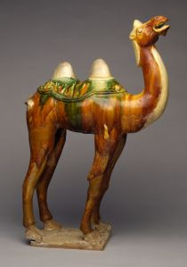 Chinese, T'ang Dynasty (618-906), Camel, Earthenware with brown, green and yellow glaze.