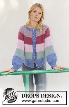 Sweet Country Sunrise Jacket - Knitted jacket with stripes, balloon sleeves and raglan. Piece is worked in DROPS Air, top down. Size: S - XXXL - Free pattern by DROPS Design Drops Design, Sweater Knitting Patterns, Knit Patterns, Free Knitting, Yarn Projects, Knitting Projects, Drops Kid Silk, Magazine Drops, Drops Patterns