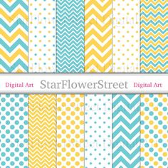 #Blue #Yellow #Chevron #PolkaDot #DigitalPaper Instant Download #Scrapbook Background turquoise patterns  https://www.etsy.com/listing/202435761/blue-yellow-chevron-polka-dot-digital?ref=shop_home_active_5 #dp  by StarFlowerStreetDA
