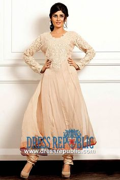 Champagne Mauve Shirt with Scalloped Neck Embroidered Anarkali Suits Online by Threads n Motifs