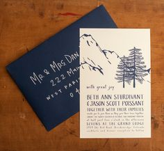 Mountain Wedding Invitations - Winter Wonderland - Folk, illustrated, handmade, trees, woodland, forest, mountains, west