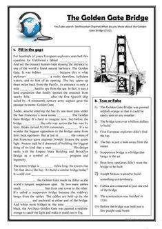 Listening: The Golden Gate Bridge - English ESL Worksheets Guided Reading Activities, Comprehension Activities, Reading Comprehension, Beautiful Words In English, English Words, English Grammar, English Language, Teaching English, Learn English