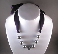 Bridesmaid Necklace  Plum Purple Ribbon and by CarlenaDesigns, $26.00