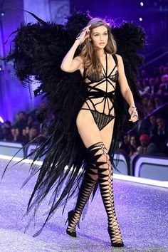 Gigi Hadid presents a creation during the 2016 Victoria's Secret Fashion Show.