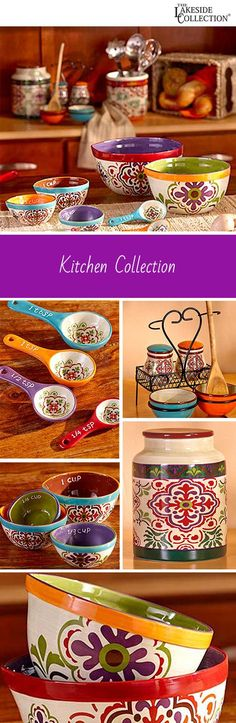 Bring the bright, colorful patterns of the world to your kitchen with this global collection of measuring cups, spoons, decorative canisters, and bowls. We love the bohemian feel of these colorful kitchen items.