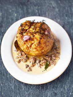 Magnificent whole-roasted celeriac, mushroom sauce & barley    Vegetarian, meat-arian… whoever you are, have a go at this bad boy! It's delicious, fulfilling, funny, and you'll get people talking