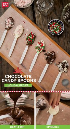 """Make these chocolate-dipped spoons in five easy steps. Perfect for holiday treats and coffee stirs! Check out the quick recipe on our """"Smile"""" blog!:"""