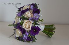 purple bridal bouquets pictures | Bridesmaids bouquet of cream roses, purple lisianthus and lilac ...