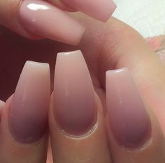Nude coffin shape nails