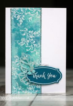 strip of Watercolour Paper using Pool Party, Bermuda Bay & Island Indigo Ink smeared onto a clear block and spritzed with water. Dry watercolour paper completely and embossed flourish in white Handmade Thank You Cards, Beautiful Handmade Cards, Karten Diy, Embossed Cards, Card Making Techniques, Watercolor Cards, Watercolour, Card Sketches, Copics