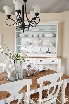 "My New Old Hutch white paint ""Cotton Blossom"" Dutch Boy blue interior paint color ""Distant Valley"" Valspar"