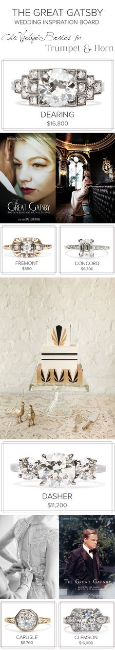 With The Great Gatsby movie coming out this weekend, we teamed up with CHIC VINTAGE BRIDES to bring you all the best of Great Gatsby & Art Deco wedding inspiration. See our shared board now! pinterest.com/trumpetandhorn/great-gatsby-wedding/
