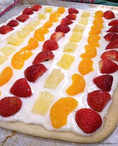 "Fabulous Fruit Pizza with a sugar cookie crust is a ""Go To"" recipe for all our get togethers. Just use the fruit you have on hand. Such a cr. by corine Fruit Recipes, Sweet Recipes, Dessert Recipes, Cooking Recipes, Just Desserts, Delicious Desserts, Yummy Food, Yummy Treats, Sweet Treats"