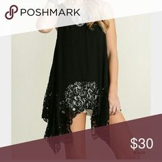 ??JUST IN ??Lace Trim Handkerchief Top Lace trim detail adorns this flowy handkerchief top. Tops Tank Tops