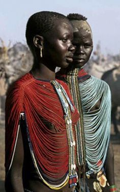 Africa | Dinka girls who are eligible for marriage where these loose bead bodices. | ©Carol Beckwith and Angela Fisher.