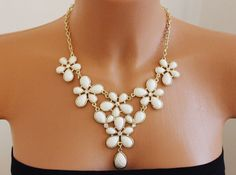 White Statement Necklace Flower Necklace White by BlingFabulous, $28.00