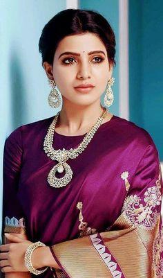 Best Beautiful Indian Actress and Models High Resolution Wallpapers [HD] Samantha In Saree, Samantha Ruth, Fashion Designer, Indian Designer Outfits, Designer Wear, Saris, Samantha Images, Purple Saree, Indian Jewellery Design