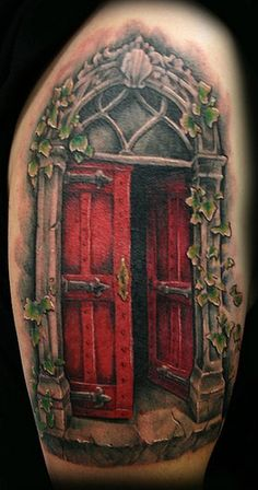 medieval door ivy tattoo by Jackie Rabbit (by Jackie rabbit Tattoos)