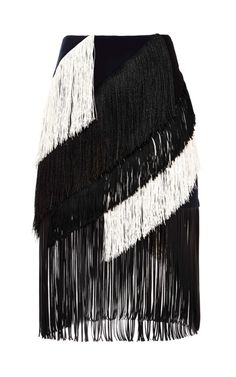 Twill Fringe Skirt by Cédric Charlier for Preorder on Moda Operandi