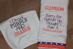 Sorry for Spitting up Clemson Burp Cloth/ I Drool Purple and Orange Bib Set by SweetSouthStitches on Etsy https://www.etsy.com/transaction/1062805741