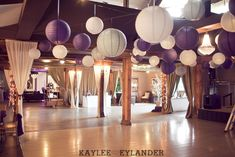 Exactly the color scheme I dream if for my wedding! Love the look of white lanterns in different size.beautiful with twinkle lights in the room :) Lord Hill farm Wedding Kaylee Eylander Photography Gray Wedding Colors, Purple Wedding, White Lanterns, Paper Lanterns, Farm Wedding, Wedding Bells, Dream Wedding, Diy Wedding Dance Floor, Wedding Reception Photography