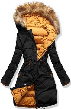 Dámska zimná bunda s kapucňou čierno-oranžová - Bundy - MODOVO Street Style 2017, Black N Yellow, Mantel, Parka, Womens Fashion, Casual, How To Wear, Leather, Jackets