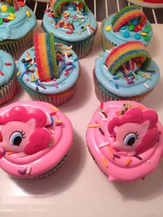 My Little Pony Cupcake idea.  I can make different cupcakes for the different ponies!!!