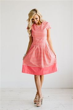 Coral White Stripe Modest Dress Bridesmaids Dress, Church Dresses, dresses for church, modest bridesmaids dresses, trendy modest dresses, modest womens clothing, affordable boutique dresses, cute modest dresses, mikarose, modest bridesmaids dresses