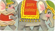 Vintage 1967 Birthday Card Circus Train of par TheVintageGreeting, $3,95